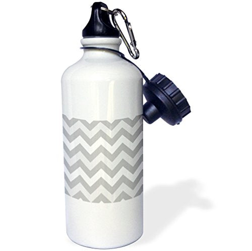 3dRose wb_179806_1 Shades Of Gray Chevron Zig Zag Pattern - Light Pastel Grey Zigzags Sports Water Bottle, 21Oz, Multicolored