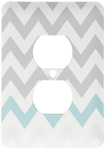 3dRose lsp_179811_6 Grey Chevron with Mint Turquoise Zig Zag Accent Gray Zigzag Pattern Light Switch Cover
