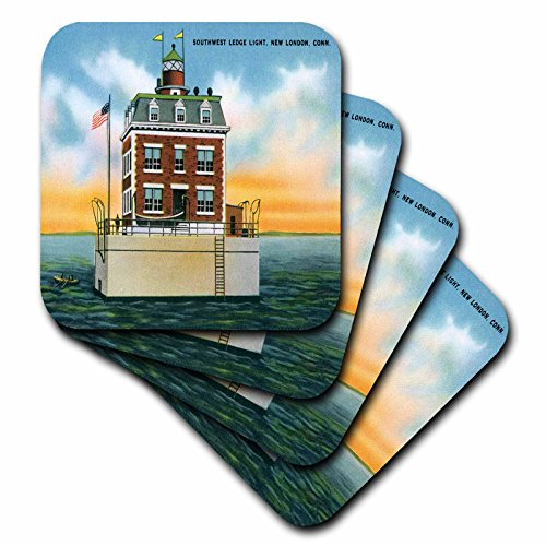 3dRose cst_169564_3 Southwest Ledge Light, New London, Connecticut. Lighthouse Ceramic Tile Coasters, Set of 4