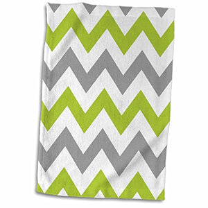 "3D Rose Green and Grey Chevron Zig Zag Pattern Light Gray White Zigzag Stripes twl_179803_1 Towel, 15"" x 22"", Multicolor"
