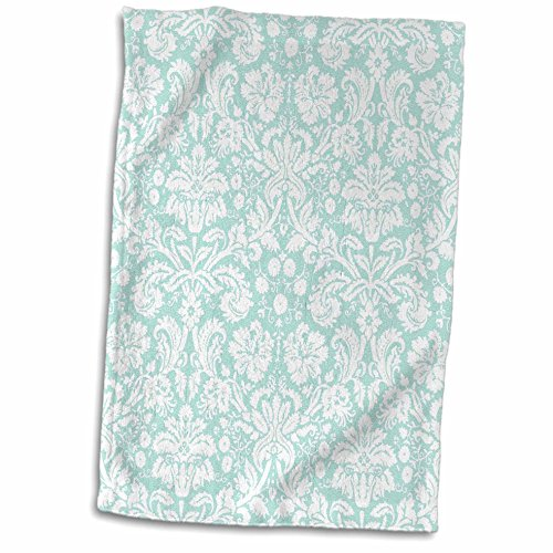 "3D Rose Mint and White Damask-Stylish Swirling Vines-Pastel Turquoise Light Aqua Teal Blue Green Towel, 15"" x 22"", Multicolor"