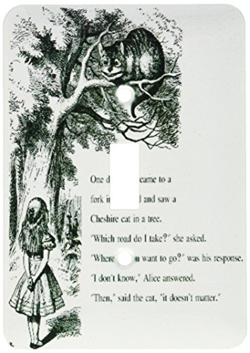 3dRose lsp_193782_1 Which Road Do I Take Cheshire Cat Alice in Wonderland John Tenniel Light Switch Cover