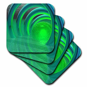 3dRose Fractal Blue Green Eerie Light - Soft Coasters, set of 4 (cst_62019_1)