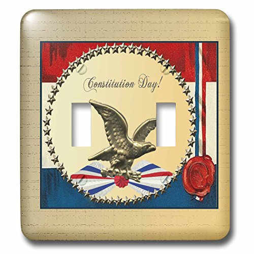 3dRose lsp_192601_2 Constitution Day Bronze Eagle with Gold Stars and Patriotic Banner Double Toggle Switch