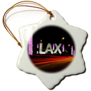 3dRose orn_88260_1 California, Los Angeles, Traffic Lights-Us05 Bja0470-Jaynes Gallery-Snowflake Ornament, 3-Inch, Porcelain