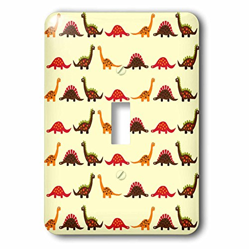 3dRose lsp_116465_1 Cute Dinosaur Parade Pattern for Boys and Dino Lovers Light Switch Cover