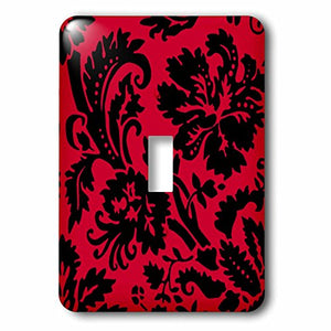 3dRose lsp_151459_1 Red & Black Damask Large Print Stylish Floral Gothic Bold Elegant Burlesque Inspired Pattern Single Toggle Switch