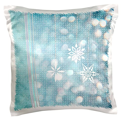 "3dRose pc_202239_1 Snowflakes and Ribbons in Aqua Green Lights Pillow Case, 16"" x 16"""
