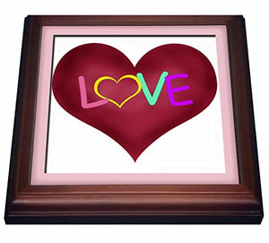 "3dRose trv_21618_1 Big Heart with Love in Bright Colors in a Light Pink Frame Trivet with Ceramic Tile, 8 by 8"", Brown"