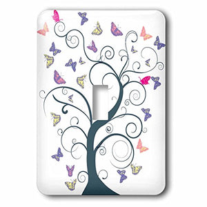 3dRose LSP_235925_1 Blue Tree with Pastel Butterflies Single Toggle Switch