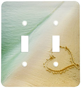 3dRose lsp_173299_2 Heart Shape Symbolizing Love, Heart Carved in Sand on The Beach Light Switch Cover