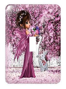 3dRose lsp_218898_1 Pink Woodland Fairy Enchanted Forest with A Snow White Bunny - Single Toggle Switch