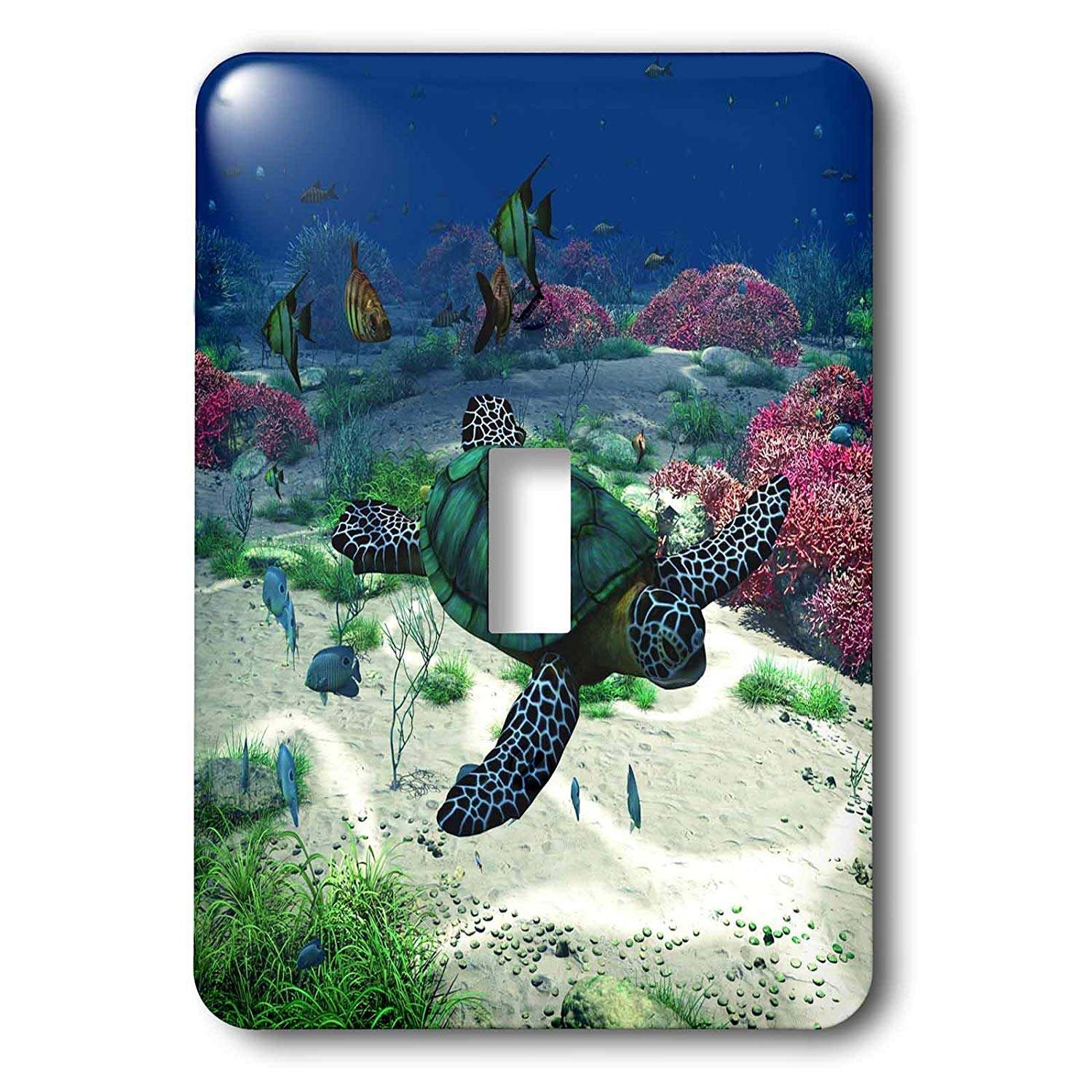 3dRose lsp_172910_1 Sea Turtle Swims Through the Ocean with Tropic Fishes Corals and More Single Toggle Switch