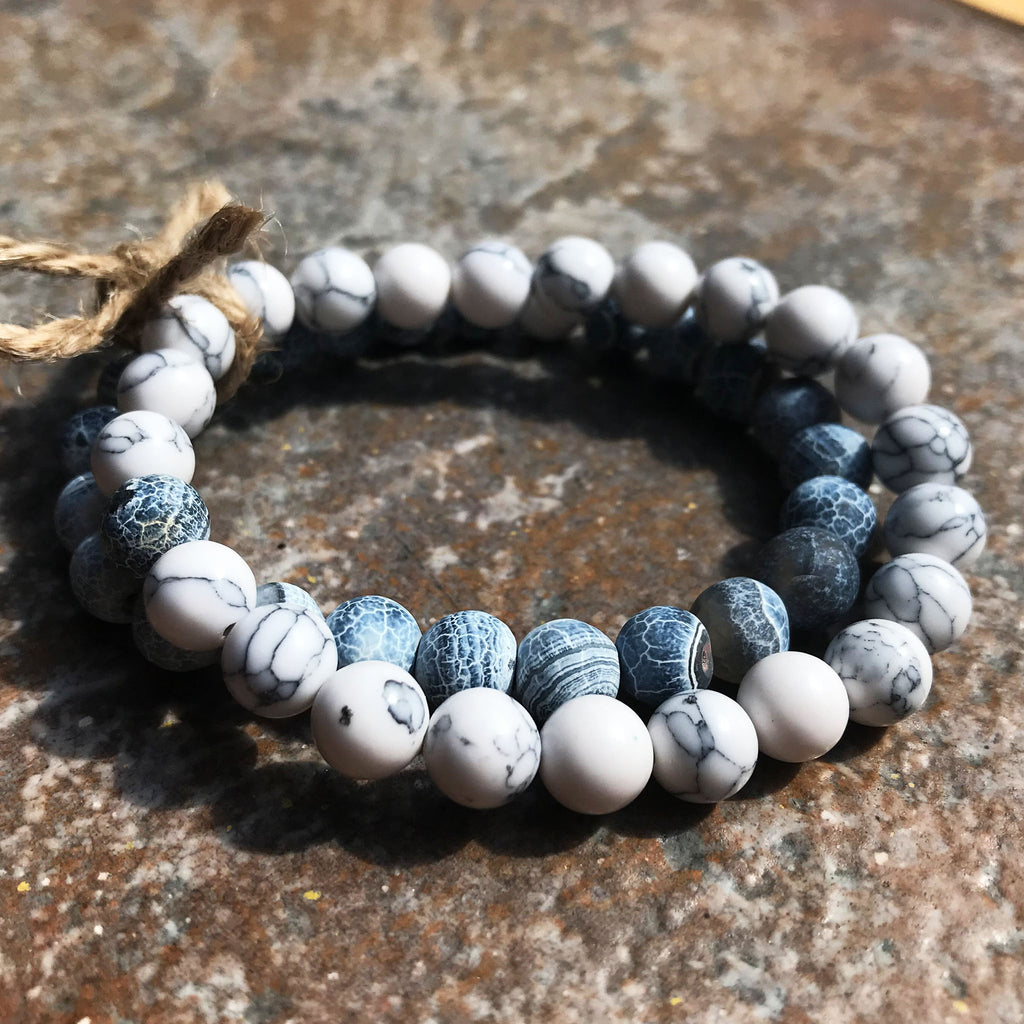 Mountain Mist - Blue & White Beaded Bracelet Pair - The Pickle Patch Colorado food and gifts