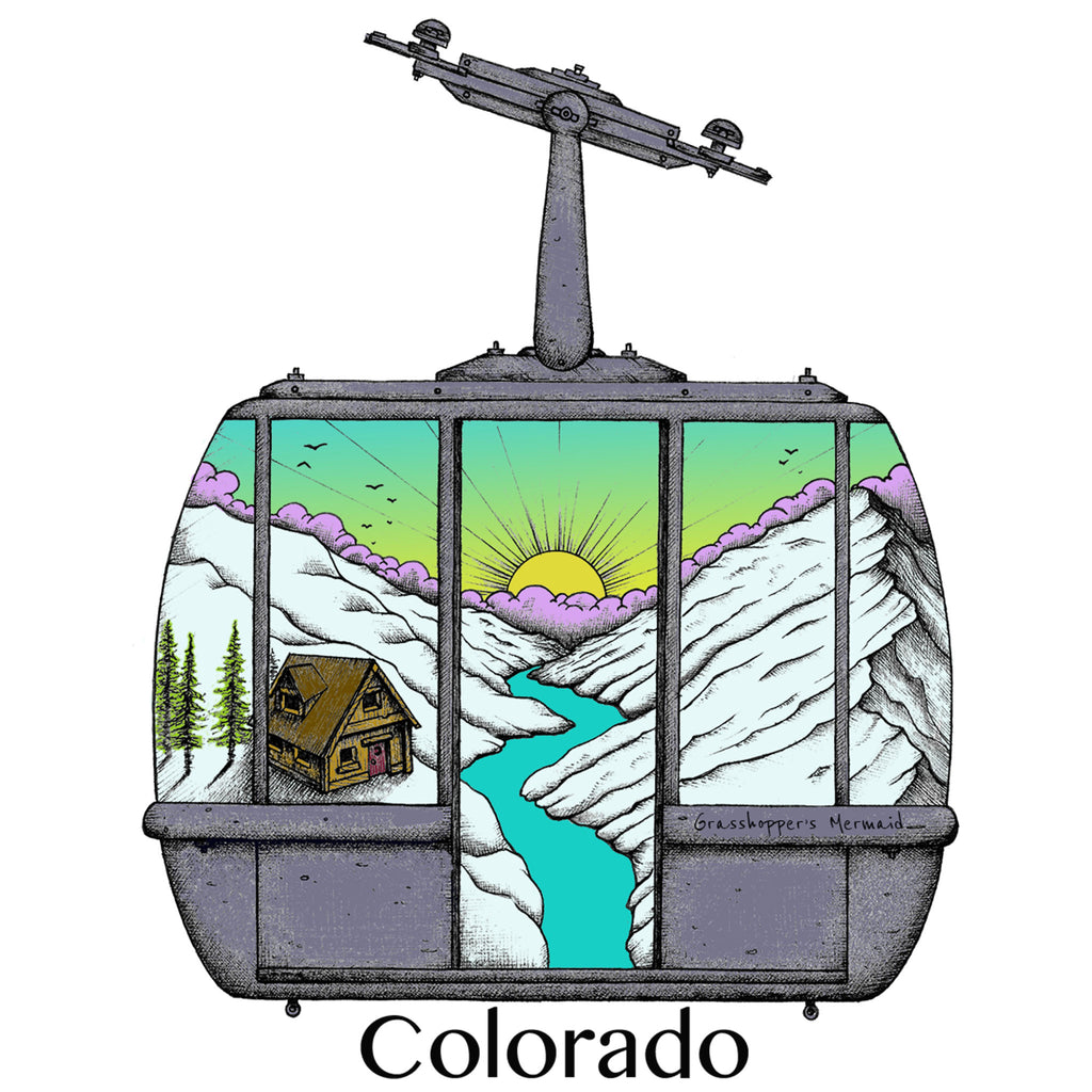 'Ski Lift Sunrise' Custom Sticker - The Pickle Patch Colorado food and gifts
