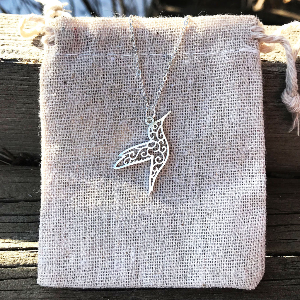 'Geo-gami' Hummingbird pendant necklace - The Pickle Patch Colorado food and gifts