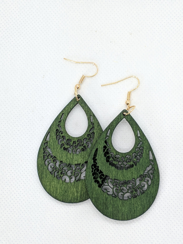 Emerald Teardrop - Wooden earrings - The Pickle Patch Colorado food and gifts