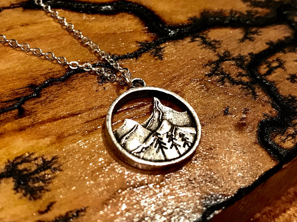 Lone Mountain - Hollow Nature Scene Necklace - The Pickle Patch Colorado food and gifts