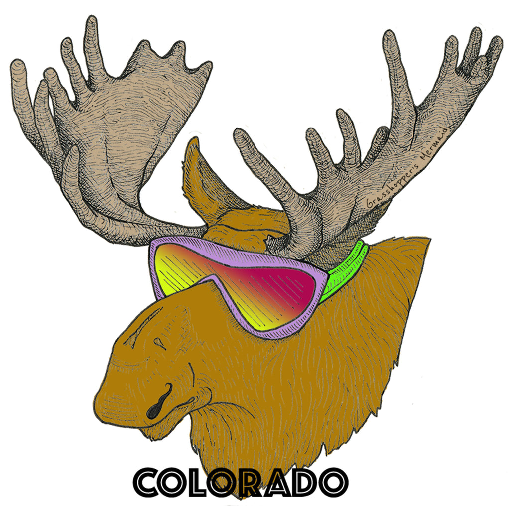 'Hang Loose Ski Moose' Custom Sticker - The Pickle Patch Colorado food and gifts