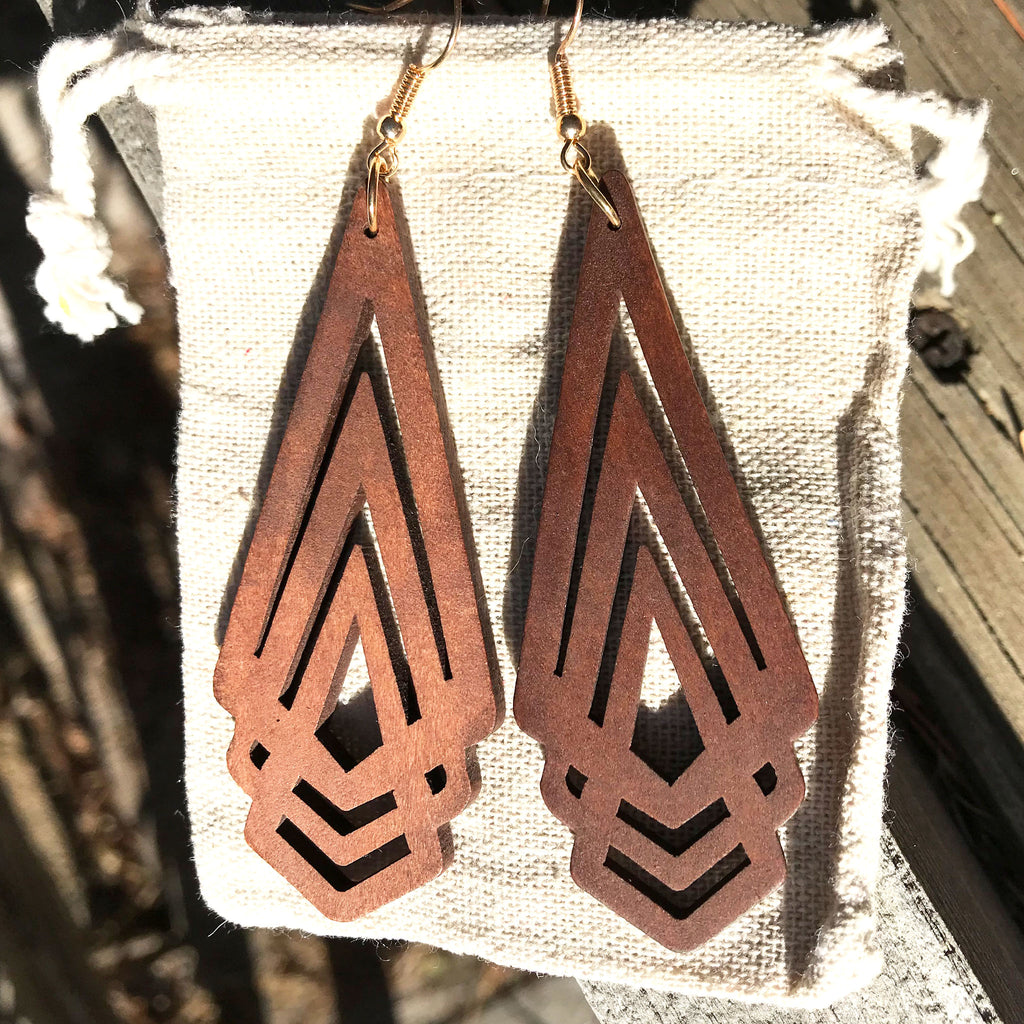 Arrowhead - Minimalist wooden earrings - The Pickle Patch Colorado food and gifts
