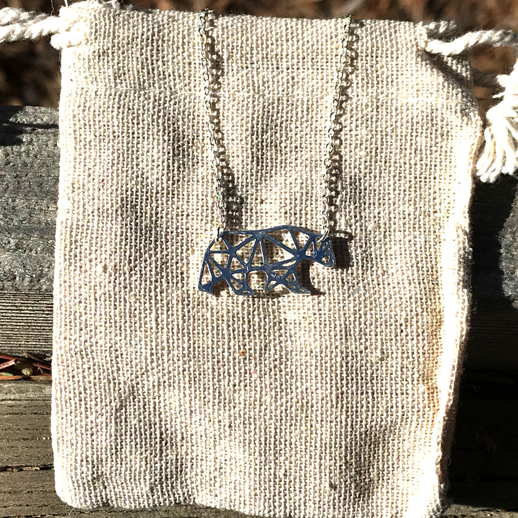 'Geo-gami' Bear pendant necklace - The Pickle Patch Colorado food and gifts