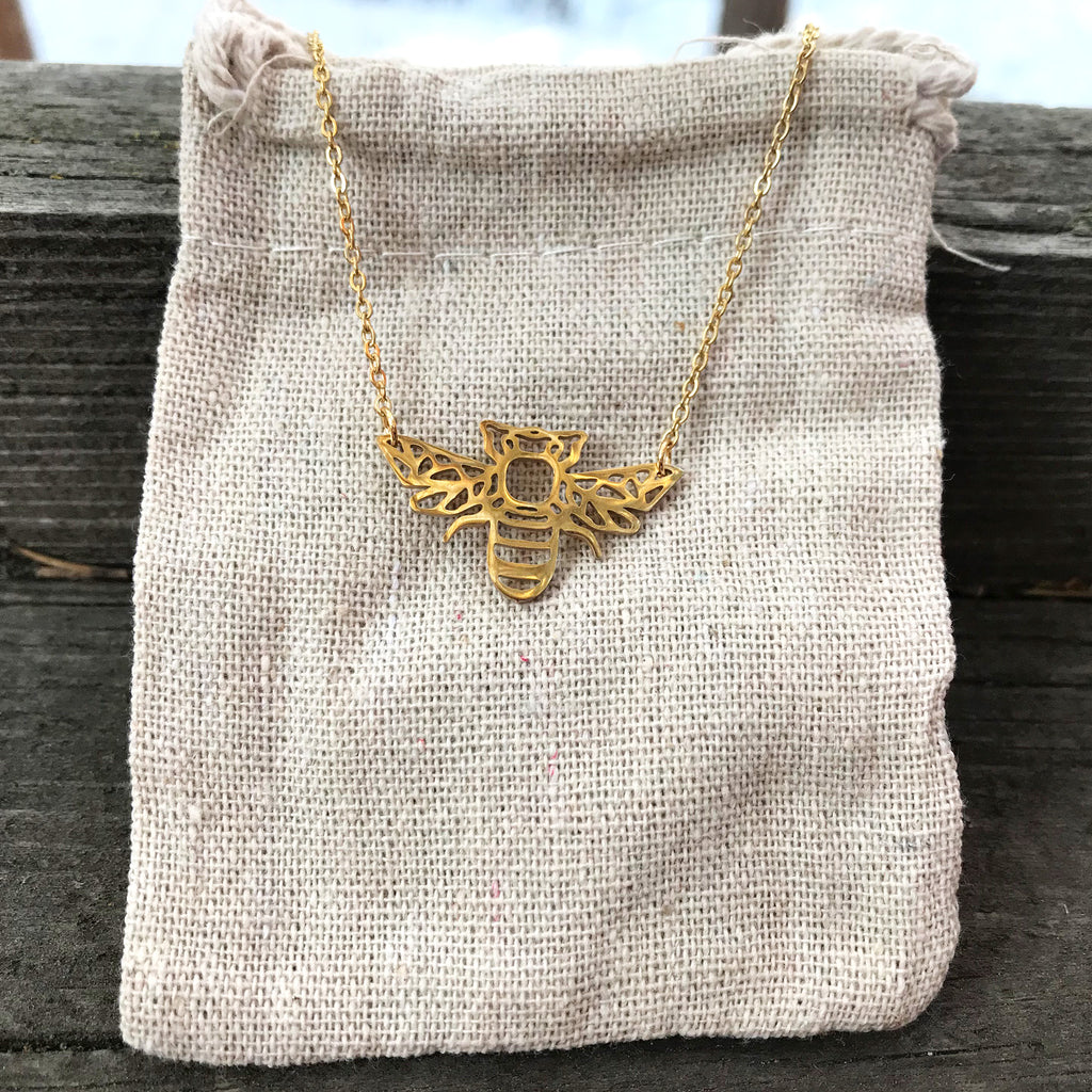 'Geo-gami' Bee pendant necklace - The Pickle Patch Colorado food and gifts