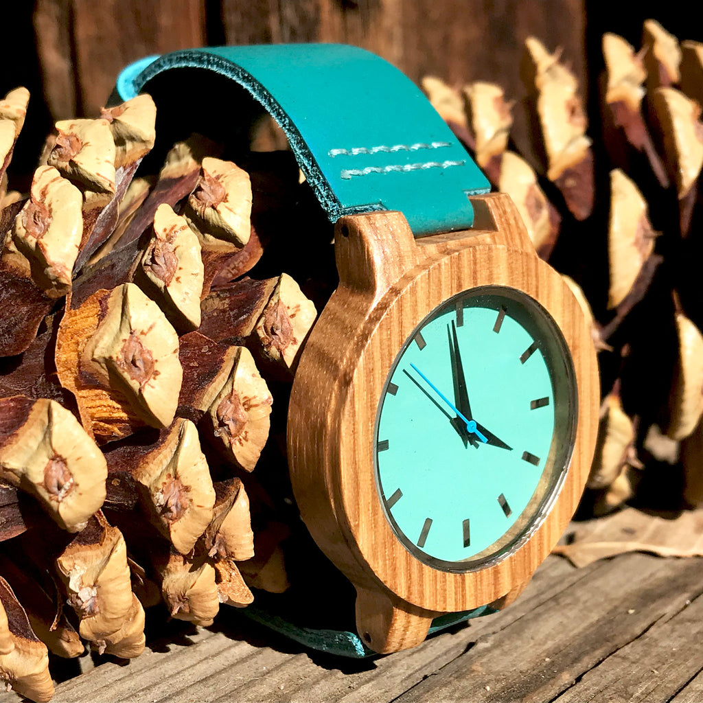 Pure Azure - women's luxury natural wooden wristwatch - The Pickle Patch Colorado food and gifts