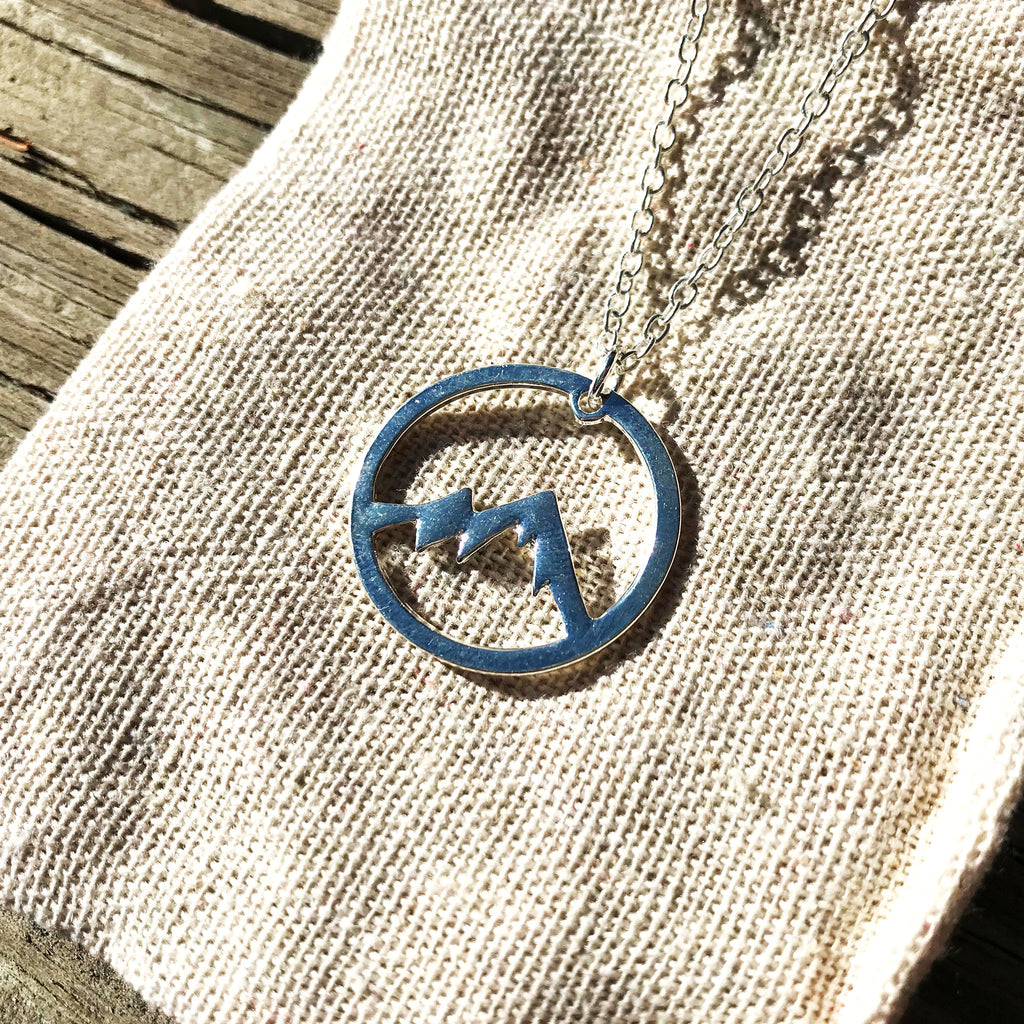 Mountain Contour - Colorado mountain scene pendant necklace - The Pickle Patch Colorado food and gifts