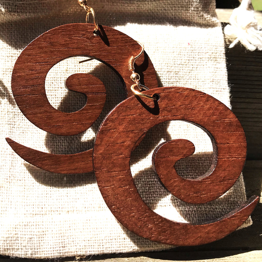 Spiral Out - Wooden Hanging Earrings - The Pickle Patch Colorado food and gifts