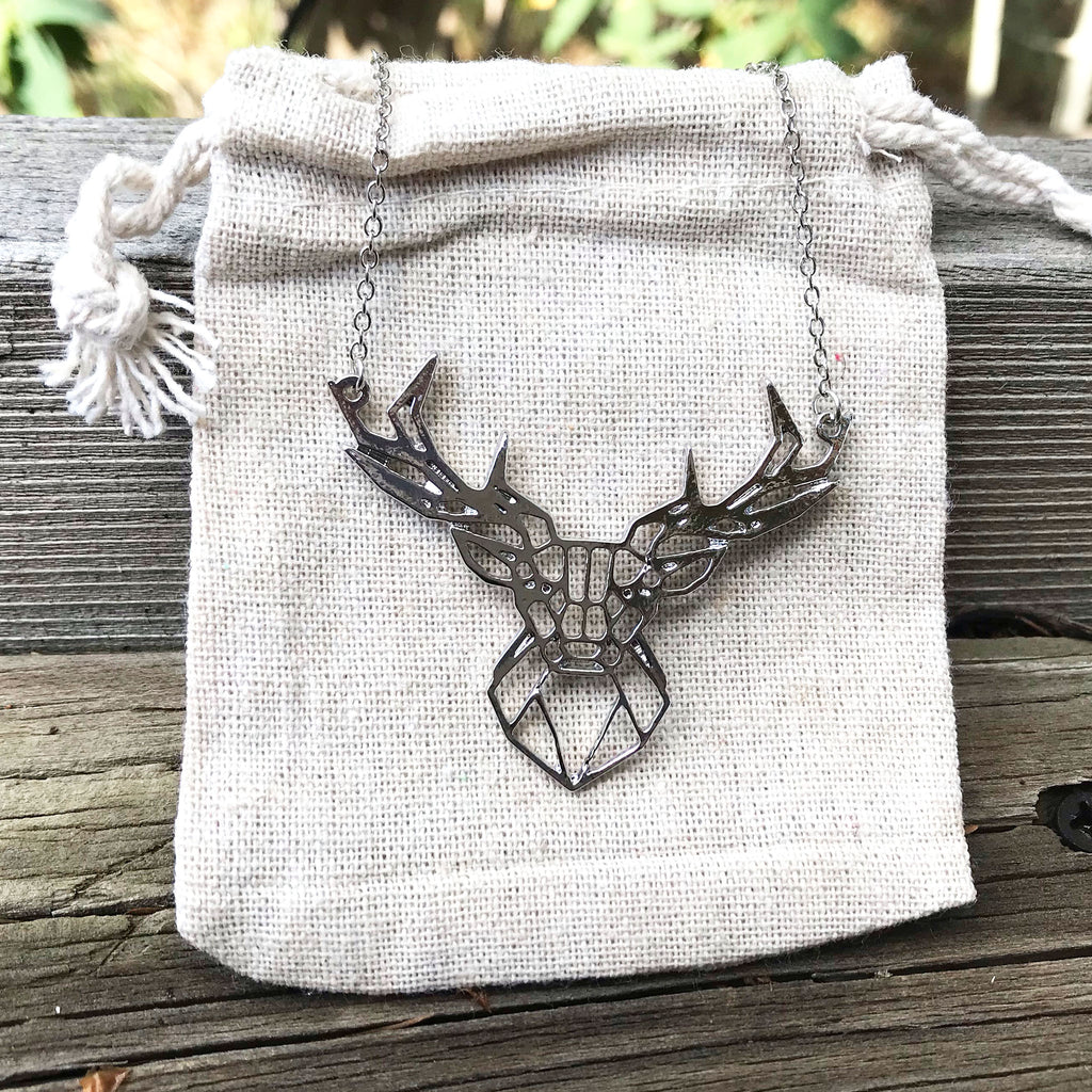 'Geo-gami' Stag pendant necklace - The Pickle Patch Colorado food and gifts