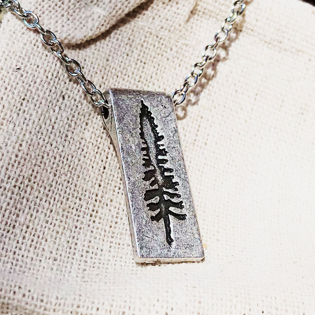 Standing Tall - Stamped Evergreen Pendant Necklace - The Pickle Patch Colorado food and gifts
