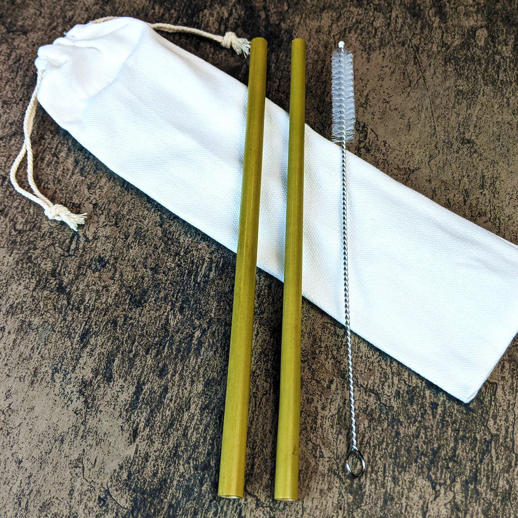 BAMBOO STRAWS - 2 PACK w/ CLEANER - The Pickle Patch Store