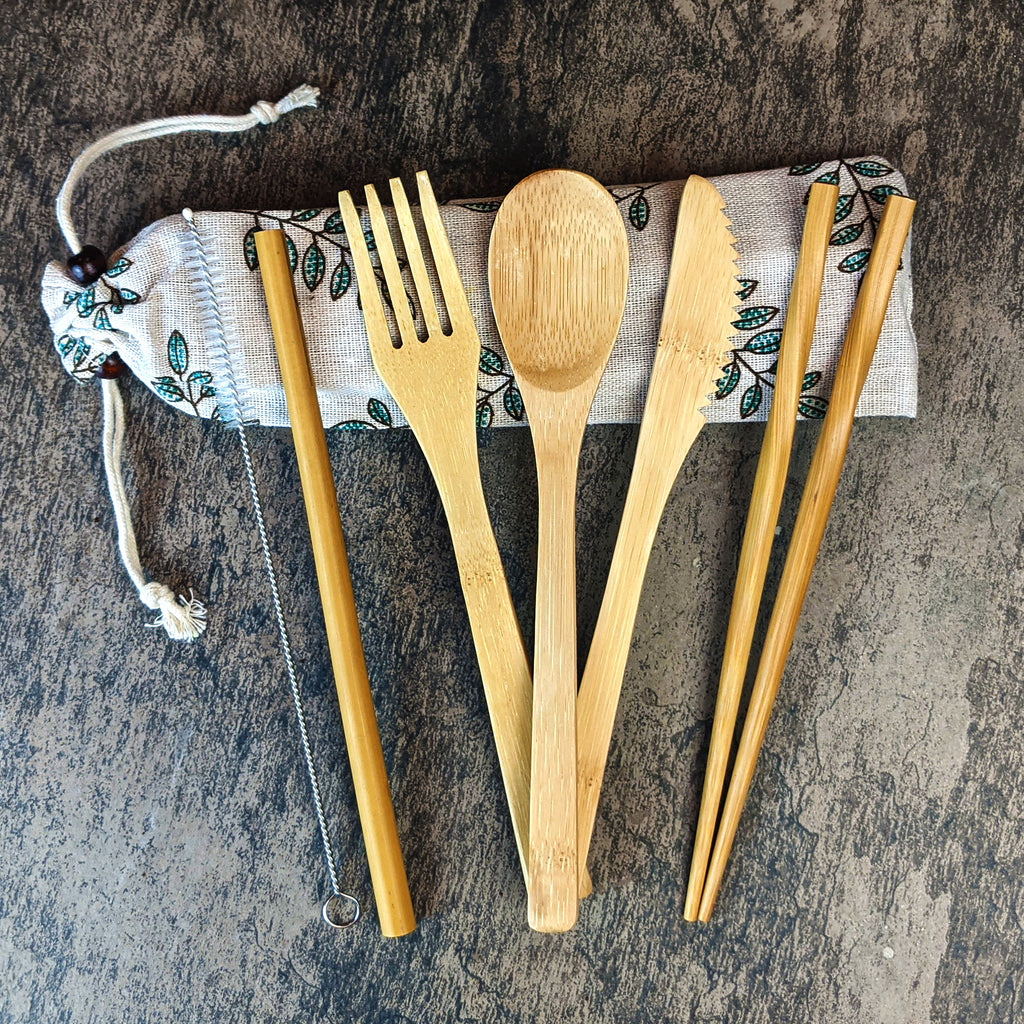 Bamboo Cutlery Travel Set - Bio-degradable wooden flatware - The Pickle Patch Store