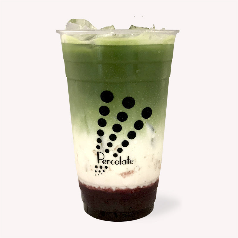 Percolate Matcha Royale, green tea, matcha, freshly brewed tea, oatmilk, order for pick up