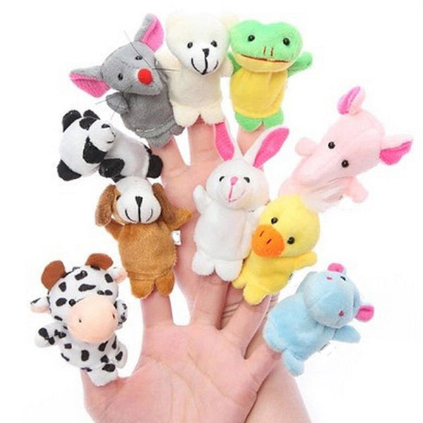 Set of 10 puppets wearing cute animal-shaped fingers