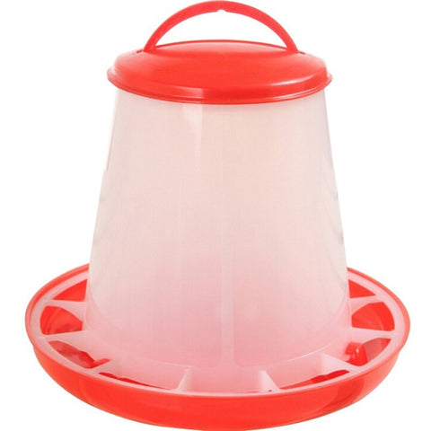 Chicken Accessories 1 Pc Red and White Plastic Feeder Baby Chicken Chicks Hen Poultry Feeder With Lid & Handle Chicken Supplies