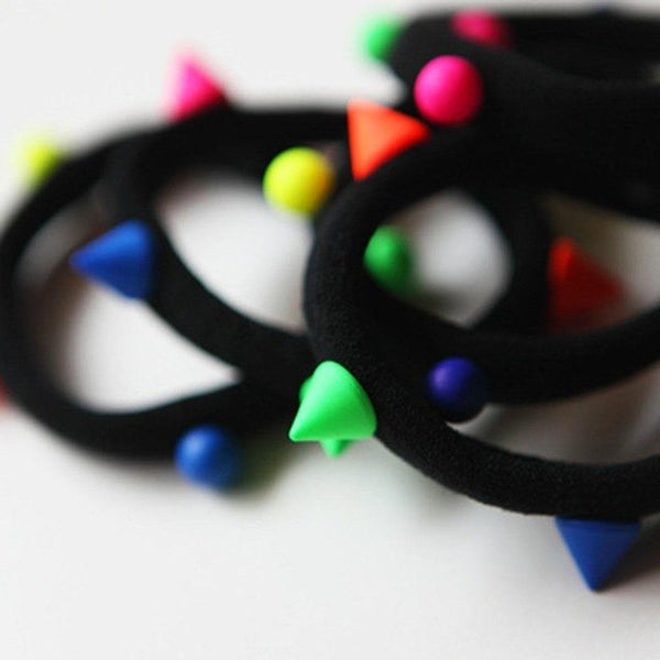 Colorful Rivet Tie Women Elastic Hairband Holder Lovely Ball Hair Rope Ponytail