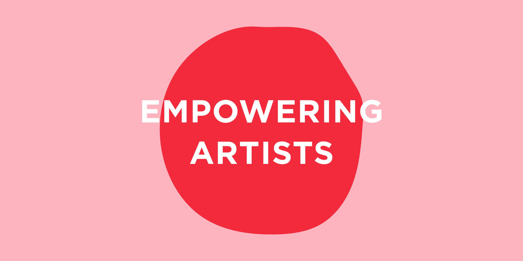 Empowering Artists in white letters on a red and pink background