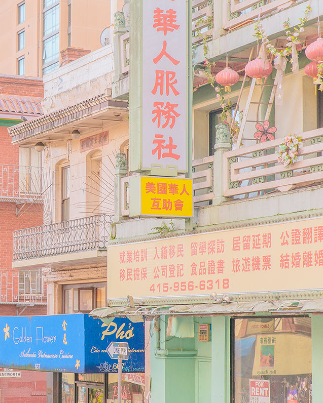An image of Chinatown in San Francisco, rendered in bright and pastel hues, by emerging Portuguese photographer Teresa Freitas.