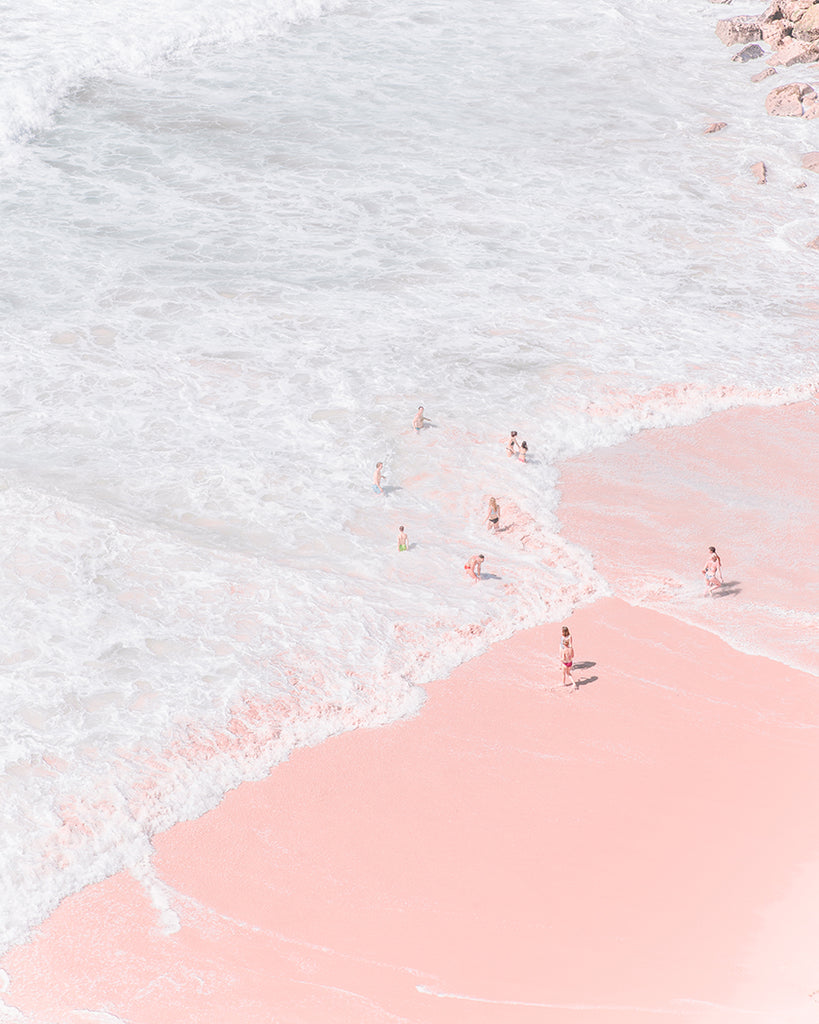 An image of a beach, with pink sands, by emerging Portuguese artist Teresa Freitas.