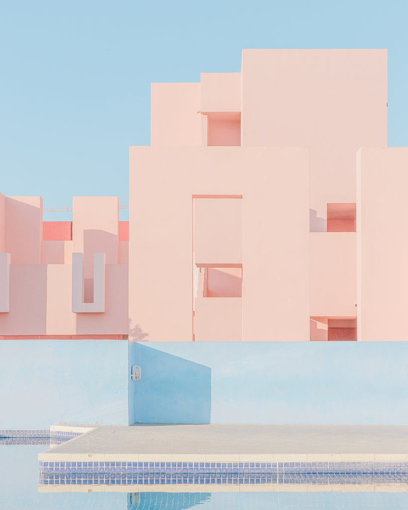 An image of Muralla Rojo, a modernist apartment block in Spain, by emerging Portuguese artist Teresa Freitas.