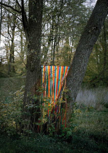 A series of colourful ribbons hung between two trees, by Polish artist Oliver Schwarzwald.