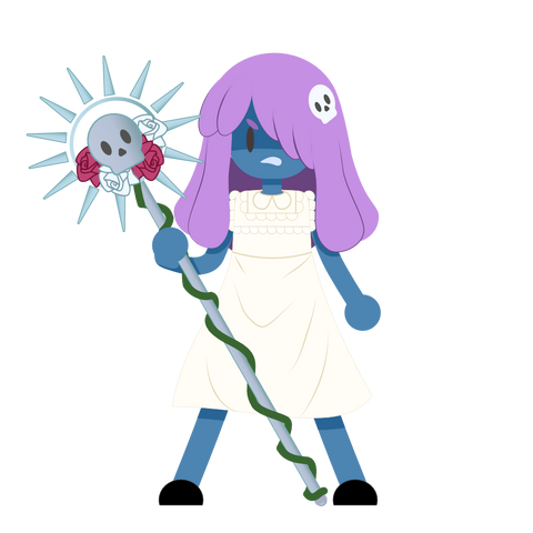 Isra, with purple hair, a skull and rose staff and a white dress.