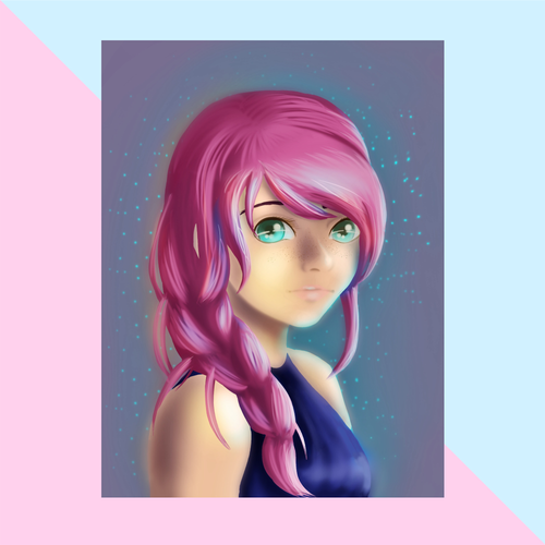 Pink Hair Portrait Print