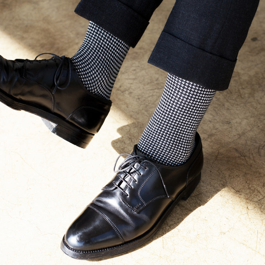 Houndstooth - Black/White - Votta Socks