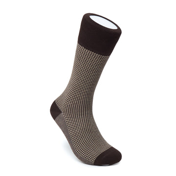 Men's Brown & Beige Houndstooth Dress Socks
