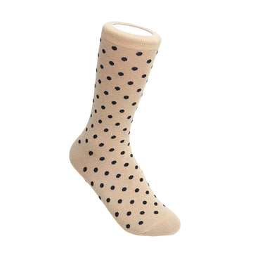 Women's Beige & Black Polka Dot Patterned Socks