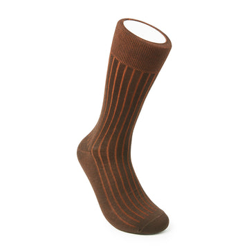 Two-Tone Ribbed - Brown/Orange - Votta Socks