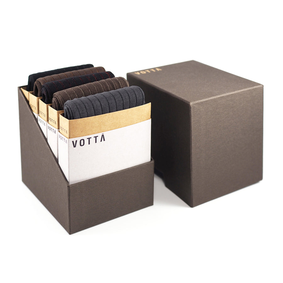 Two-Tone Ribbed Classic 2 (5-Pack) - Votta Socks