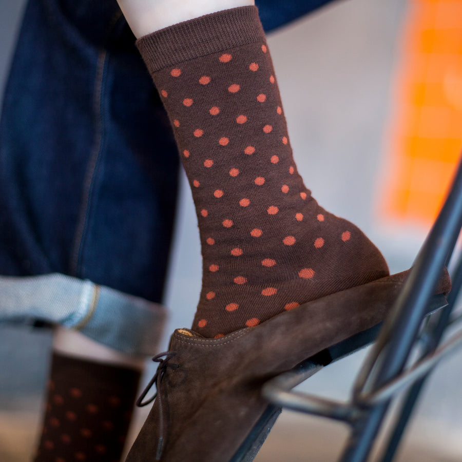 Women's Brown & Burgundy Polka Dot Patterned Socks